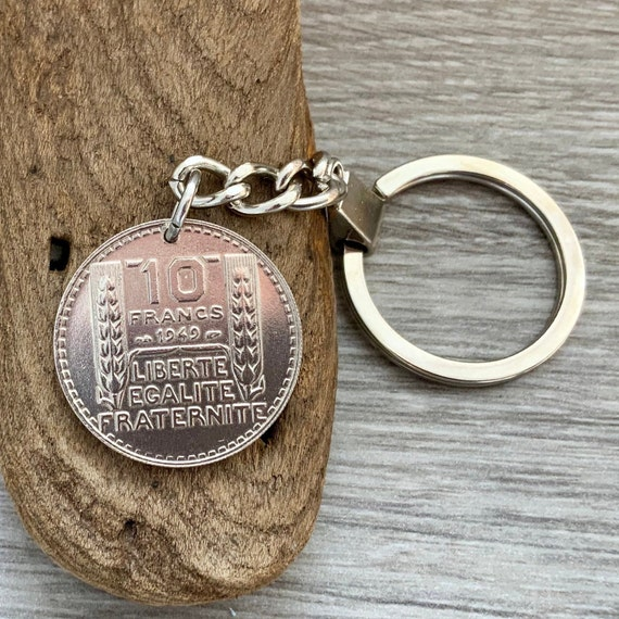 French coin key ring, key chain or clip, 1948 or 1949 10 franc from France, choose coin year for a 71st or 72nd birthday gift