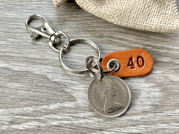 1980 British coin keychain, English 40th birthday gift or 40th anniversary present for a man or woman