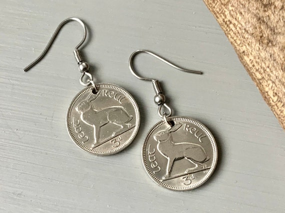 Irish hare coin earrings, choose coin year for a perfect birthday or anniversary gift for a woman