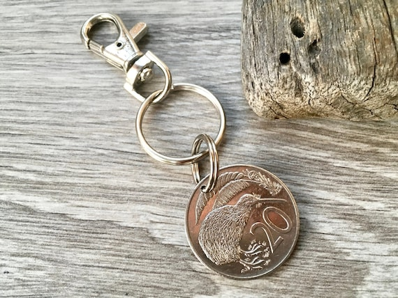 New Zealand coin keyring or clip, 1979, 1987 or 1988 Kiwi coin 31st, 39th or 40th birthday or anniversary gift for a man or woman