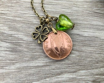 1993 Irish penny and four leaf clover charm necklace, 28th birthday or anniversary gift