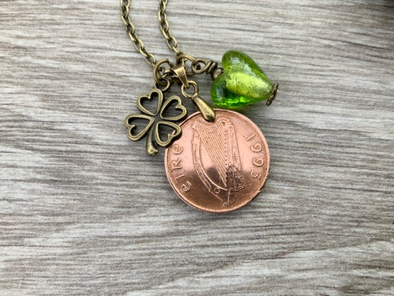 Irish penny pendant, 1993 Ireland coin necklace, 27th birthday or anniversary gift, Celtic present for a woman
