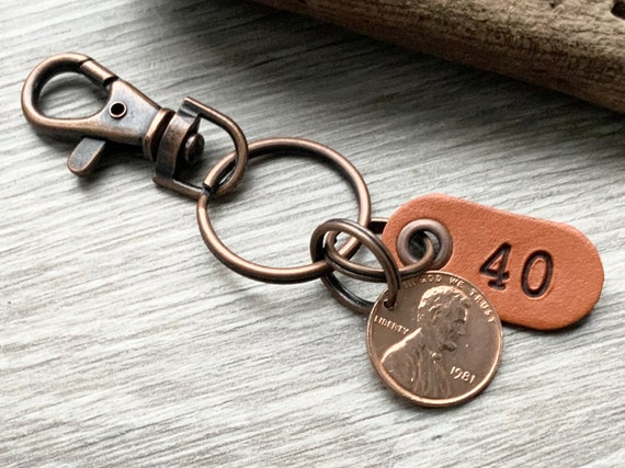 40th birthday gift, 1981 USA coin keychain, American one cent keyring, lucky penny clip, anniversary, present for a man or woman
