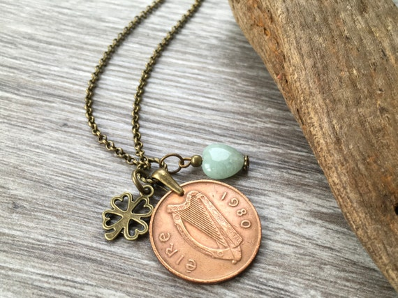 1980 Irish long coin necklace, shamrock pendant, green Ireland jewellery Celtic anniversary present for her, woman, wife