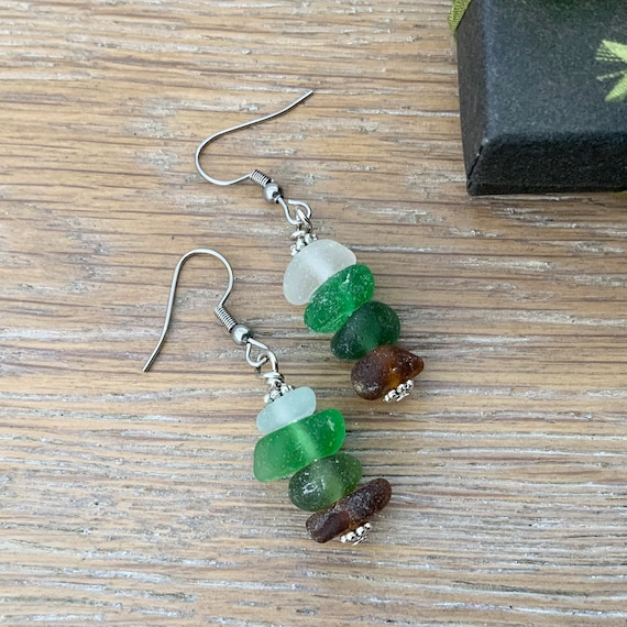 Ombre sea glass earrings, Cornish green beach glass jewellery stacked sea glass, mermaids tears unusual gift for a woman