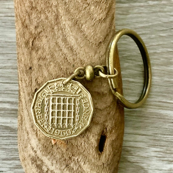 1960 or 1961 English coin keychain, Keyring or clip, 59th or 60th birthday gift, British threepenny, brass thuppence, threppence