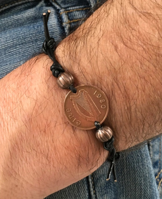 Irish penny adjustable bracelet, choose coin year, 1980, 1982 or 1985, handmade to order with either a waxed cotton cord or leather cord