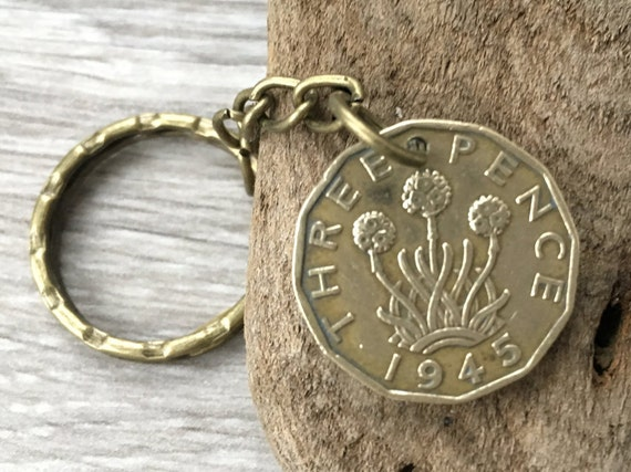 74th or 75th birthday gift, 1944 or 1945 coin keychain, keyring, British clip, UK threppence, thruppence, present for him, man, dad, grandad