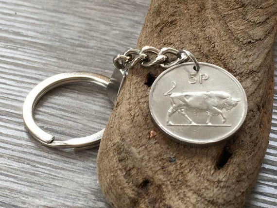 48th birthday gift, Irish coin keychain, old coin keyring, dated 1971, st patricks day, retirement gift for a man, taurus, bull, anniversary