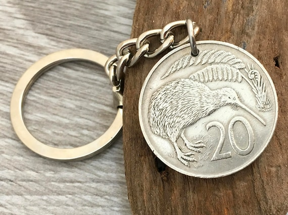 1965 or 1967 New Zealand coin keyring, woman, Kiwi florin keychain, 52nd or 54th birthday gift or anniversary present for a man or woman