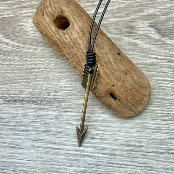 Arrow adjustable necklace, with either a waxed cotton cord or leather cord, adjustable length