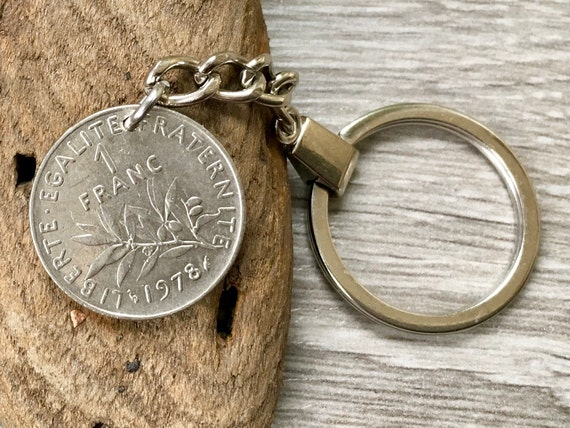 French coin keyring, keychain or clip, choose coin year, 1 franc France, anniversary present