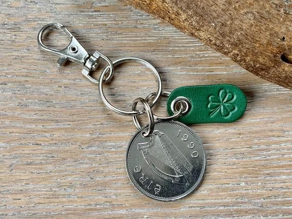1990 Irish punt and green shamrock keychain, Keyring or clip