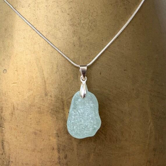 Natural sea glass pendant, Cornwall beach glass necklace, ocean, mermaids tears jewellery, birthday gift fora woman, wife or girlfriend