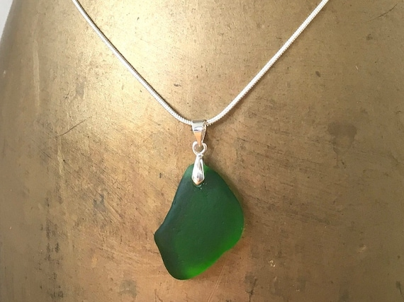 Natural sea glass pendant necklace, Cornish beach glass jewellery, mermaids tears, Cornwall, cool gift, woman, wife, girlfriend