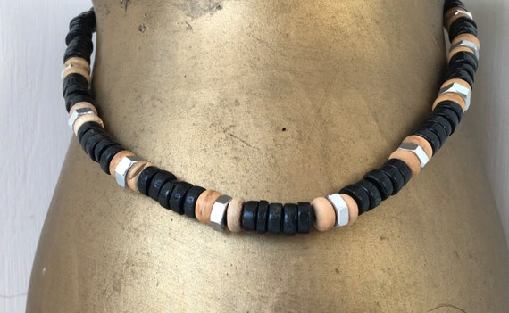 Hex nut and wooden bead necklace, hardwear jewelry, black bead necklace, mens necklace, unusual necklace