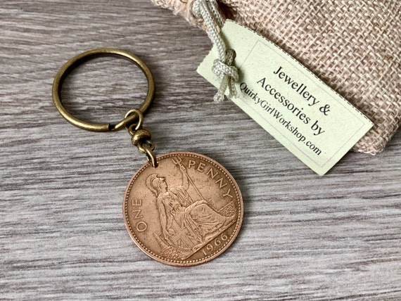 British penny key ring or clip, choose the coin year for perfect birthday or anniversary gift for a man or woman