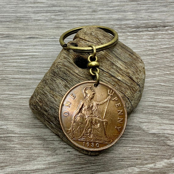 1930 British penny keyring keychain or clip a perfect 90th birthday gift for a man or woman