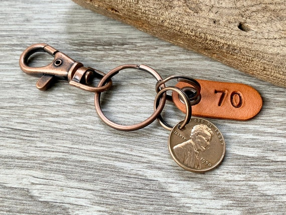 70th birthday gift, 1950 USA coin keychain, American one cent keyring, lucky penny clip, present for a man or woman