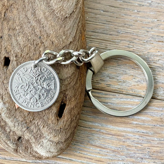 60th birthday gift, 1960 British coin keyring, sixpence keychain, lucky key fob clip, anniversary gift, purse charm, four leaf clover