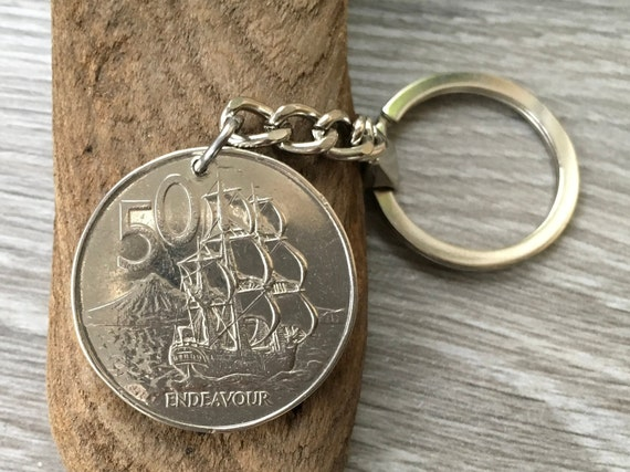 1975 New Zealand coin keyring, 45th birthday gift or Anniversary present for a man or woman, sailing ship, endeavour