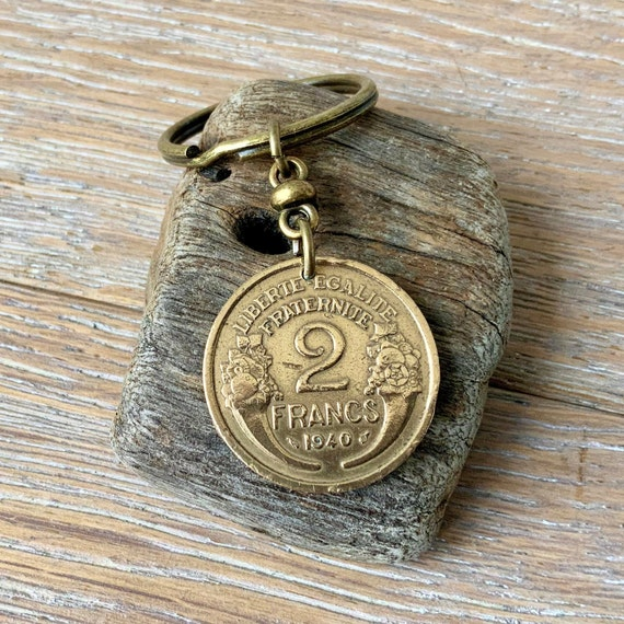 1940 French coin key ring, key chain, 2 franc France, present for a man or woman