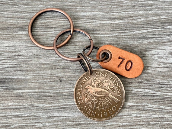 1950 New Zealand penny keychain, Keyring or clip, NZ coin with a leather number 70 tag, 70th birthday gift