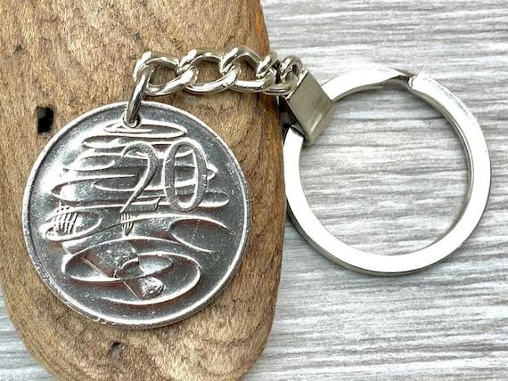Australian coin keyring or clip, 20 cent Aussie keychain, Australia birthday or anniversary gift