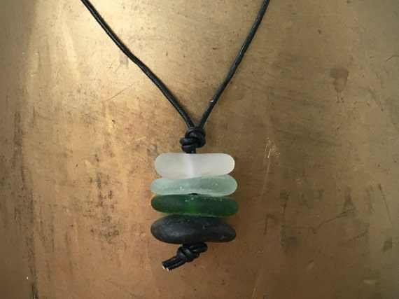 Sea glass pendant, necklace, green beach glass and leather jewellery, hippie,