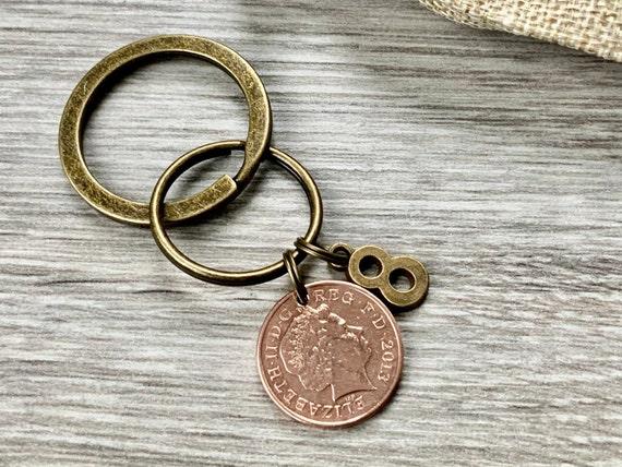 8th anniversary gift, 2013 U.K. penny keyring, keychain or clip, bronze eighth anniversary present