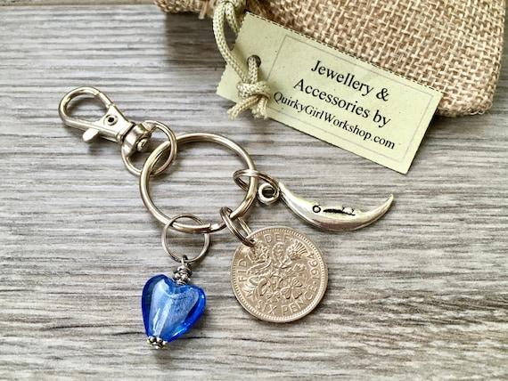 1964 Lucky sixpence keychain, keyring or clip, 55th birthday or anniversary gift, handbag charm, elephant, dragonfly, present