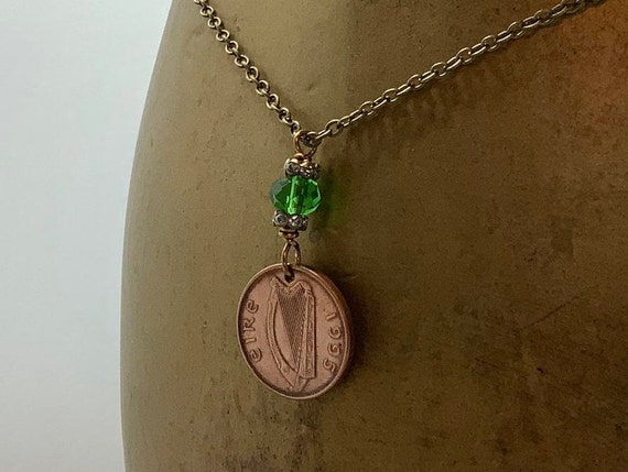 1995 or 1996 Irish coin necklace, Eire jewellery, Ireland pendant 24th or 25th birthday gift or anniversary present for a woman