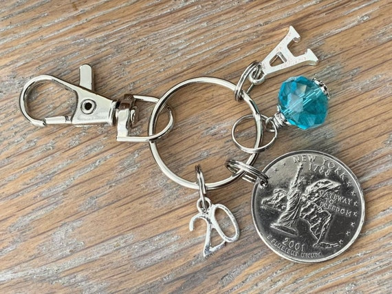 2001 United States New York State Quarter bag charm clip with a birthstone and initial, 20th birthday or anniversary gift,