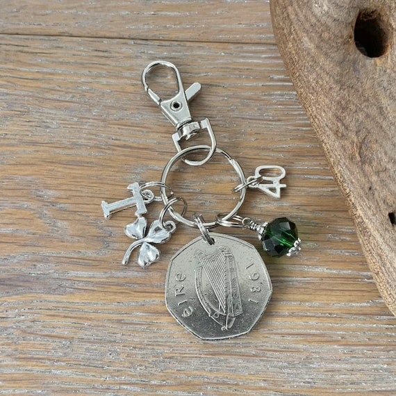 40th birthday gift, Irish Birthstone charm clip, 1981 fifty pence coin bag clip, choice of initial and birthstone colour