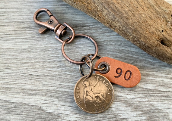 90th birthday gift, 1930 British half penny keychain clip, UK coin keyring, English present for a man or woman