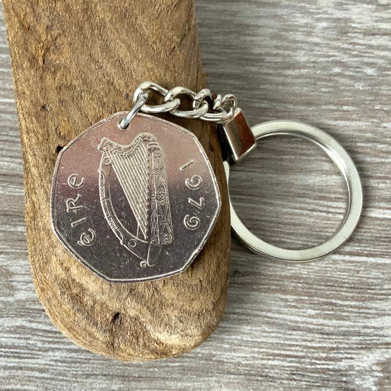 1979 Irish coin keyring or clip, keepsake 42nd birthday gift or anniversary present for a man or woman, Celtic key chain, 50p from Ireland