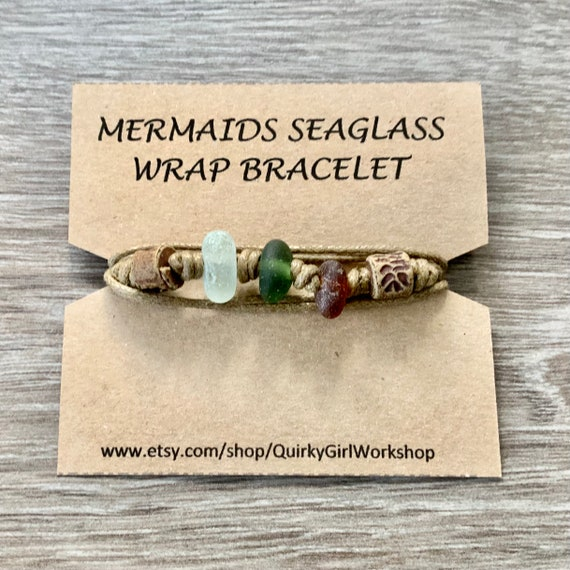 Sea glass wrap bracelet, handmade using genuine found sea glass and a waxed cotton cord