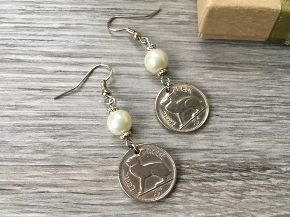 Irish hare coin earrings, 1963, 1964, 1966 or 1967 choose coin year for a perfect birthday anniversary gift