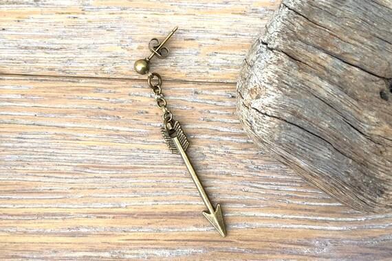 Long bronze arrow earring, single earring or a pair of earrings for men or women, stud post dangle earring