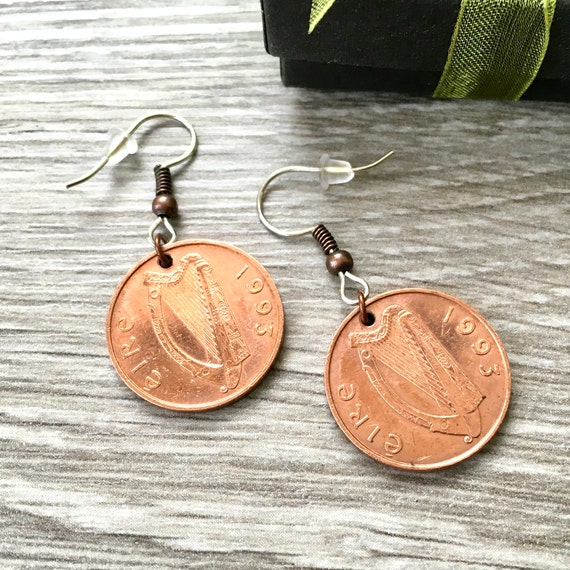 Irish coin earrings vintage 1993 penny earrings  lucky Irish coin, anniversary gift, celtic gift for her, present woman