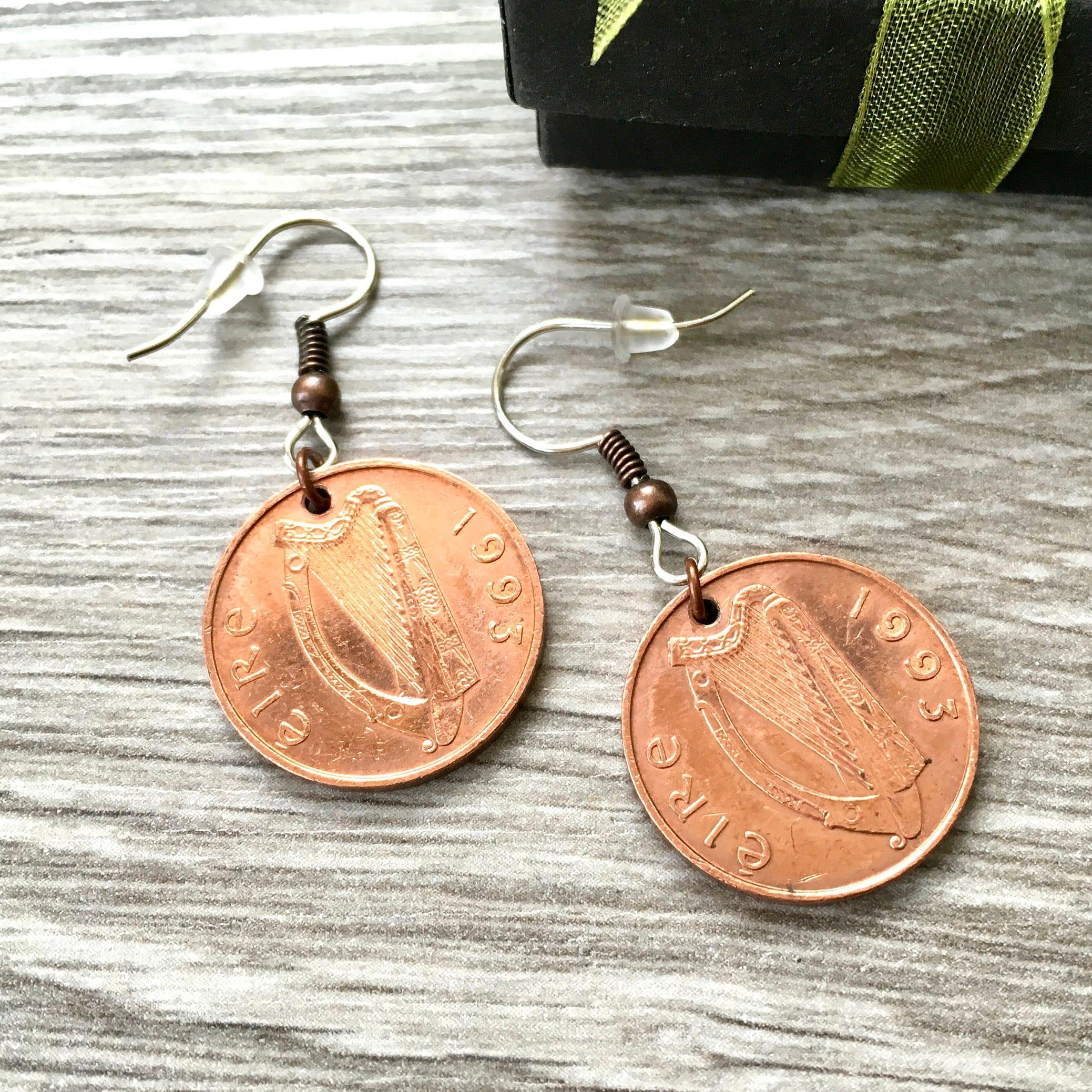 Irish coin earrings vintage 1993 penny earrings lucky Irish