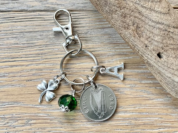 Irish Birthstone charm clip, 1980 coin keyring or bag clip, choice of initial and birthstone colour, 41st birthday or anniversary gift woman