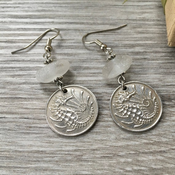 Sea horse coin earrings, sea glass jewellery, beach glass, 51st Birthday gift, 1968 anniversary present for her, woman
