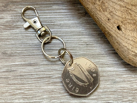 1998 Irish fifty pence keychain, keyring or clip, lucky birth year Irish coin, 23rd birthday or anniversary gift for a man or woman
