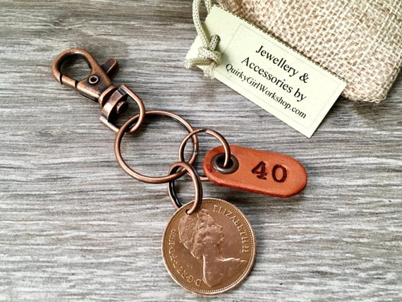 40th birthday gift for a man, 1979 British coin keychain, keyring or clip, 40th anniversary, small present for a man or woman