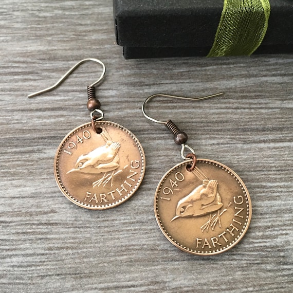 1939 or 1940 wren Farthing earrings, 79th or 80th birthday gift, English bird coin jewellery, British present for her, woman, mum, grandma