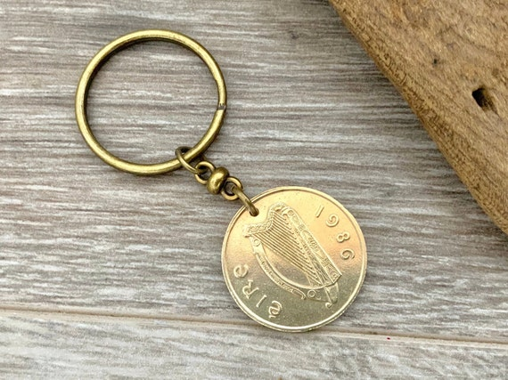 1986 or 1988 Irish coin keyring, Ireland keychain, 32nd or 34th anniversary or birthday, small horse keepsake gift for a man or woman