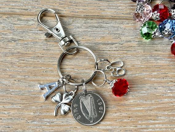 60th birthday gift 1961 Irish sixpence, shamrock and birthstone charm, keyring or bag clip, choose initial and birthstone