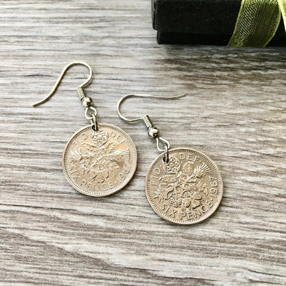 1966 or 1967 British sixpence earrings, 52nd or 53rd birthday gift, pretty English coin Jewelry, anniversary present woman, Sterling silver