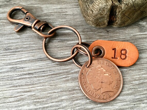 18th birthday or anniversary gift, year 2001 British coin keyring, keychain, or clip